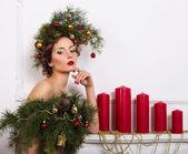 Kerstmis vrouw. — Stockfoto