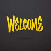 Welcome hand written lettering. Vector calligraphy — Vecteur