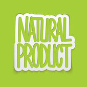Natural product hand written lettering calligraphy. Vector — Vecteur