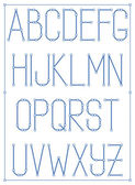 Light thin font type with nodes. Vector style alphabet — Stock Vector