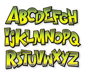 Cartoon comic font alphabet. Vector — Stock Vector