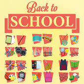 Set di diversa scuola fumetto elegante relativi elementi — Vettoriale Stock