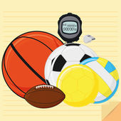 Set Of Stylish Cartoon Different Sports Related Elements — Stock Vector