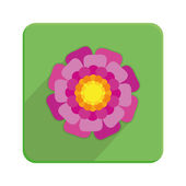 Stylish Colorful Floral Icon On Green Button  — Stock Vector