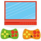 Set Of Screen And Two Joysticks  — Stock Vector