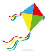 Cartoon Kite Isolated On White Background  — Stock Vector