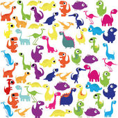 A Vector Cartoon Cute And Colorful Group Of Dinosaurs — Stock Vector
