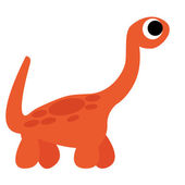 A Vector Cute Cartoon Orange Dinosaur Isolated — 图库矢量图片
