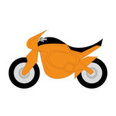 Vector Cartoon Simple Motorcycle On White Background — Stock Vector