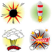Set Of Different Comic Book Elements Isolated — Stockvector