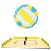 Volleyball Field  Isolated On White Background — Stock Vector