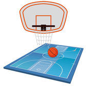 Basketball Field  Isolated On White Background — Stock Vector