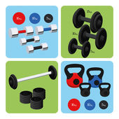 Set Of Sport And Gym Elements — Stock Vector