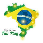 Fútbol de ilustración abstracta brasil editable — Vector de stock