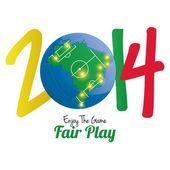 Soccer Illustration For Brazil 2014 Editable — Stock Vector