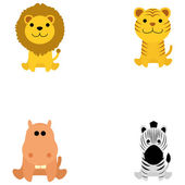 Set Of Different Cartoon Adorable Animals Isolated — Stock Vector