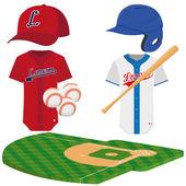 Set Of Baseball Elements Isolated On White Background — Stock Vector