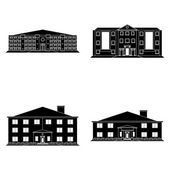 Set Of Different Building Silhouettes Isolated — Wektor stockowy