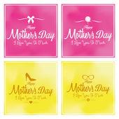 Zestaw matki happy dzień szablon karty tło — Wektor stockowy