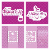 Set Of Happy Mothers's Day Template Card Background — Stock Vector