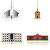 Set Of Different Building Illustrations Isolated  — Stock Vector