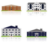 Vector Set Of Different Building Illustrations Isolated — Stock Vector