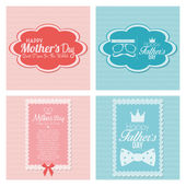 Happy Father's And Mother's Day Template Cards  — Stock Vector