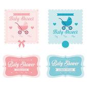 Bebé ducha plantilla tarjetas ilustración editable — Vector de stock