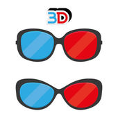 3D Glasses Icons Isolated On White Background — Stock Vector