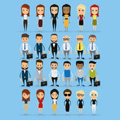 Set Of Funny Office Characters Isolated On Background — Stock Vector