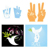 Set Of Peace Related Icons On Background — Stock Vector