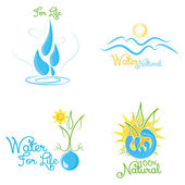 Set Of Abstract Nature Icons Isolated — Stock Vector