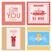 Set Of Different Love Cards Templates — Stockvektor