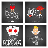 Set Of Different Love Cards Templates — Stock Vector