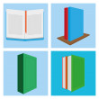 Set Of Different Book Illustrations Isolated — Stock Vector #48652493