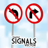 Traffic Signs Isolated On Blue Background — Stock Vector