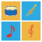 Set Of Different Colorful Musical Elements — Stock Vector