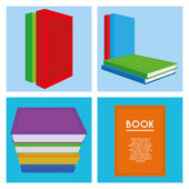 Set Of Different Book Illustrations Isolated — Stock Vector