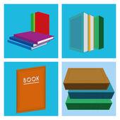 Conjunto de ilustraciones del libro diferentes aislados — Vector de stock