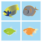 Set Of Different Fishes Isolated On Background — Stock Vector