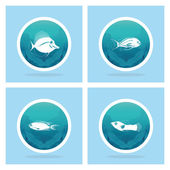 Abstract Styling Fish Label Isolated On Background — Stock Vector