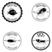 Set Of Different Fish Labels Isolated — Stock Vector