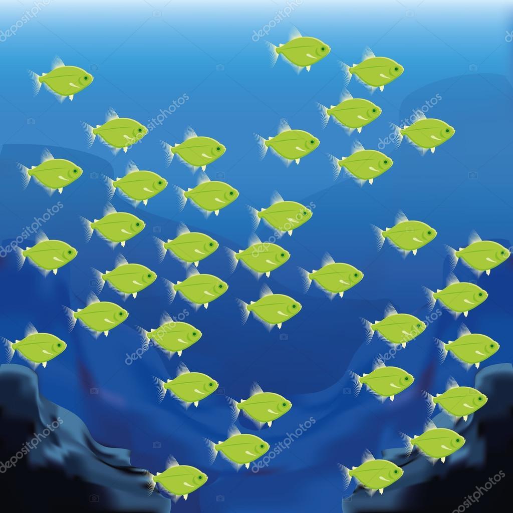 矢量背景场景与一群鱼– 图库插图