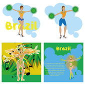 Brazil Cartoon Illustrations Editable With Background — Vector de stock
