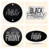 Set Different Black Friday Stickers Isolated — Stock Vector