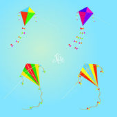 Set Of Different Kites Isolated On Background — Stock Vector