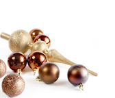 Brown christmas balls closeup — Stock Photo