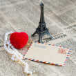 Romantic picture of the Eiffel Tower and angry in retro style — Stock Photo