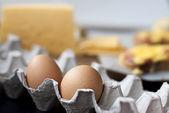 Яйца и сыр для горячих бутербродов — Стоковое фото