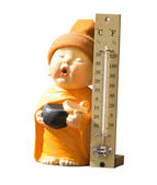 Doll and thermometer — Stock Photo